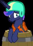 Sad Luna in a barrel.