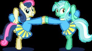 Lyra and Bon-Bon as Cheerleaders.