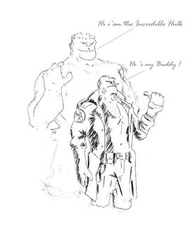 Hellboy and Hulk