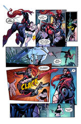 Arachna shot with a Tranquilizer Dart (Full Page) by ArachnaComic