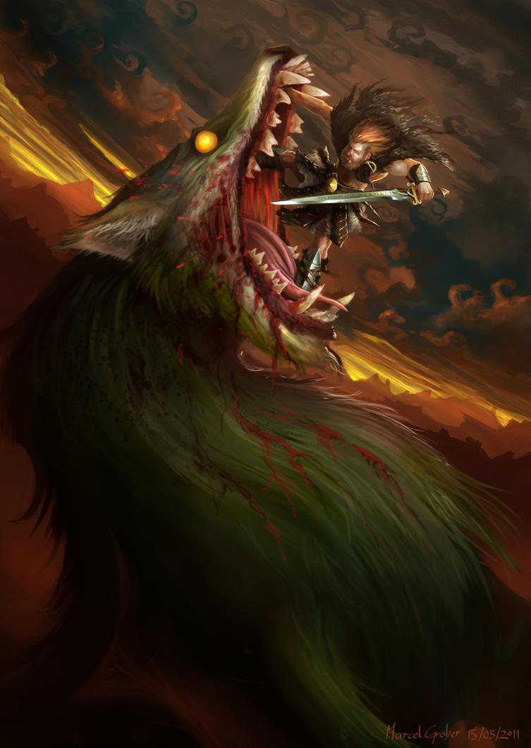 Image of Vidar killed Fenrir Norse myth vidar god