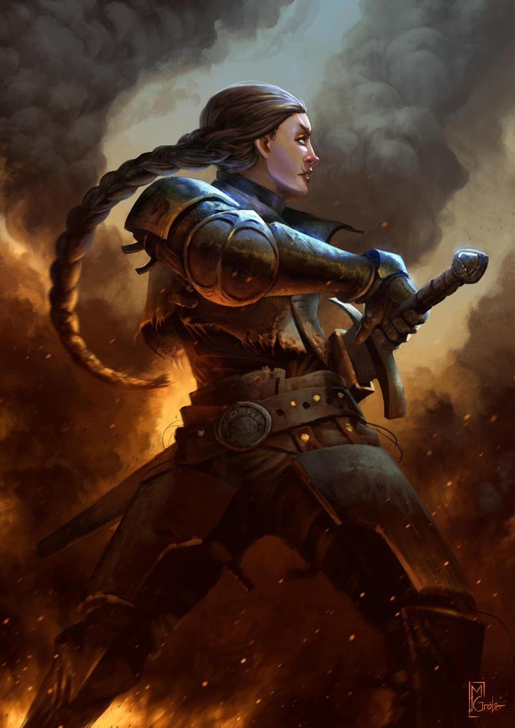 Knight in fiery battle by MarschelArts