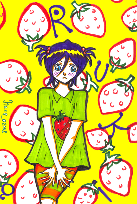 Strawberry T-shirt - Rukia by hana-sun