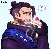 Hanzo eating cake is absolutely not a metaphor by kittycat291096