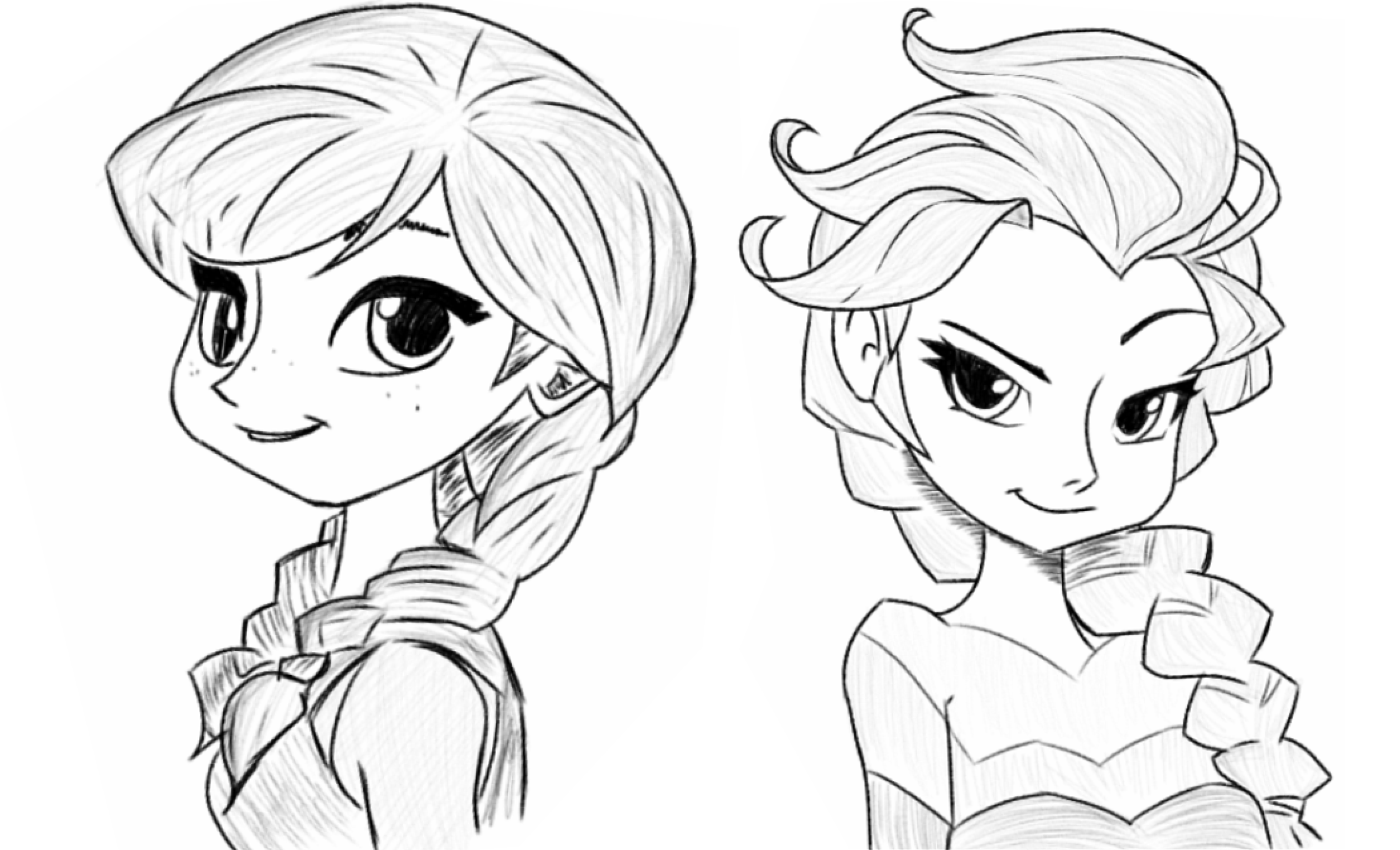 Anna And Elsa Sketch By Ijam D Bp B