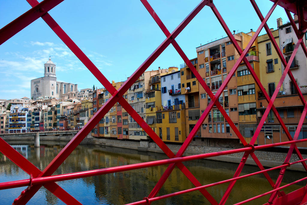 Girona - cathedral view from red bridge by ReneHaan
