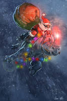Santa + Rufus the Red-nosed Rhino by ablaise