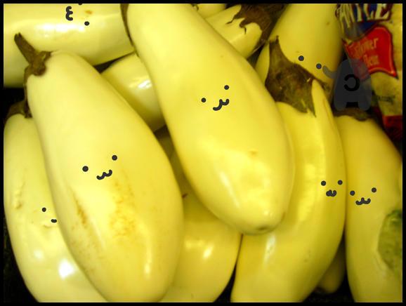 Happy White Eggplants by coconut-lane