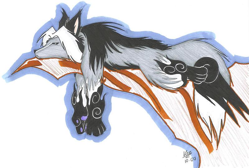 Teh Wolfie ish Sleeping by SoulieReborn