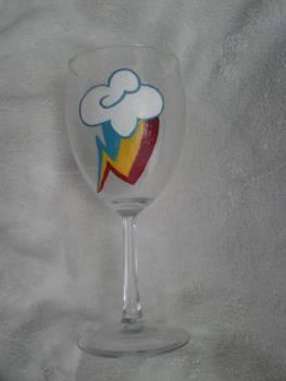 Hand Painted Rainbow Dash Wine Glass