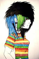 emo girl color by anii33