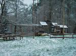 abandoned western town in snowy Europe III
