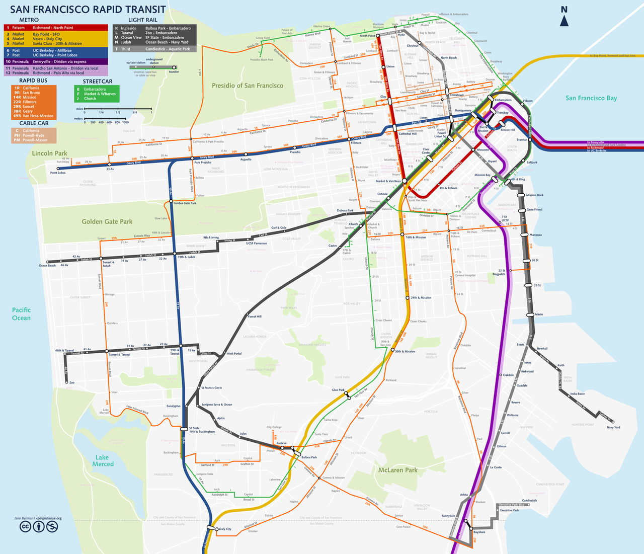 San Francisco Streetcar Map Map of Sf Trolley Map,   World Map Database
