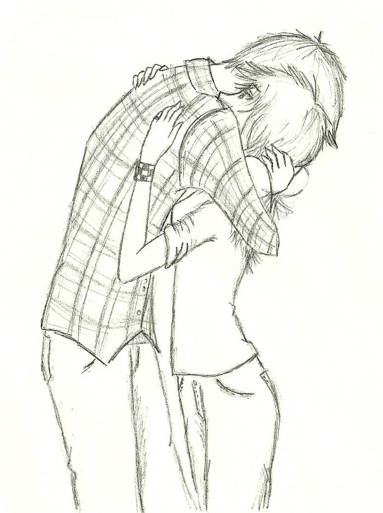 Anime Couple Hugging Drawing Sketch Coloring Page