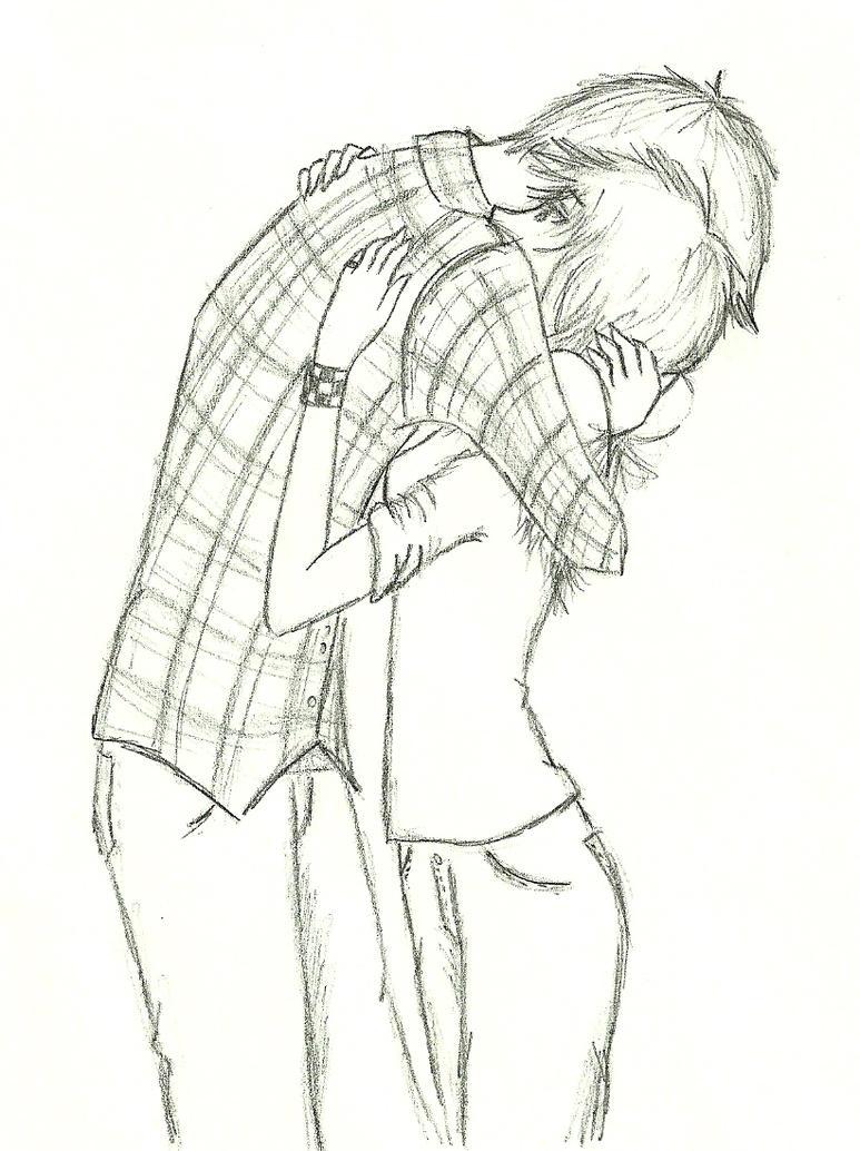 Anime Couple Hugging Drawing Sketch