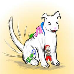 Mushoku Tensei Fanart 01 Holy Doggy and Kids by Juracan