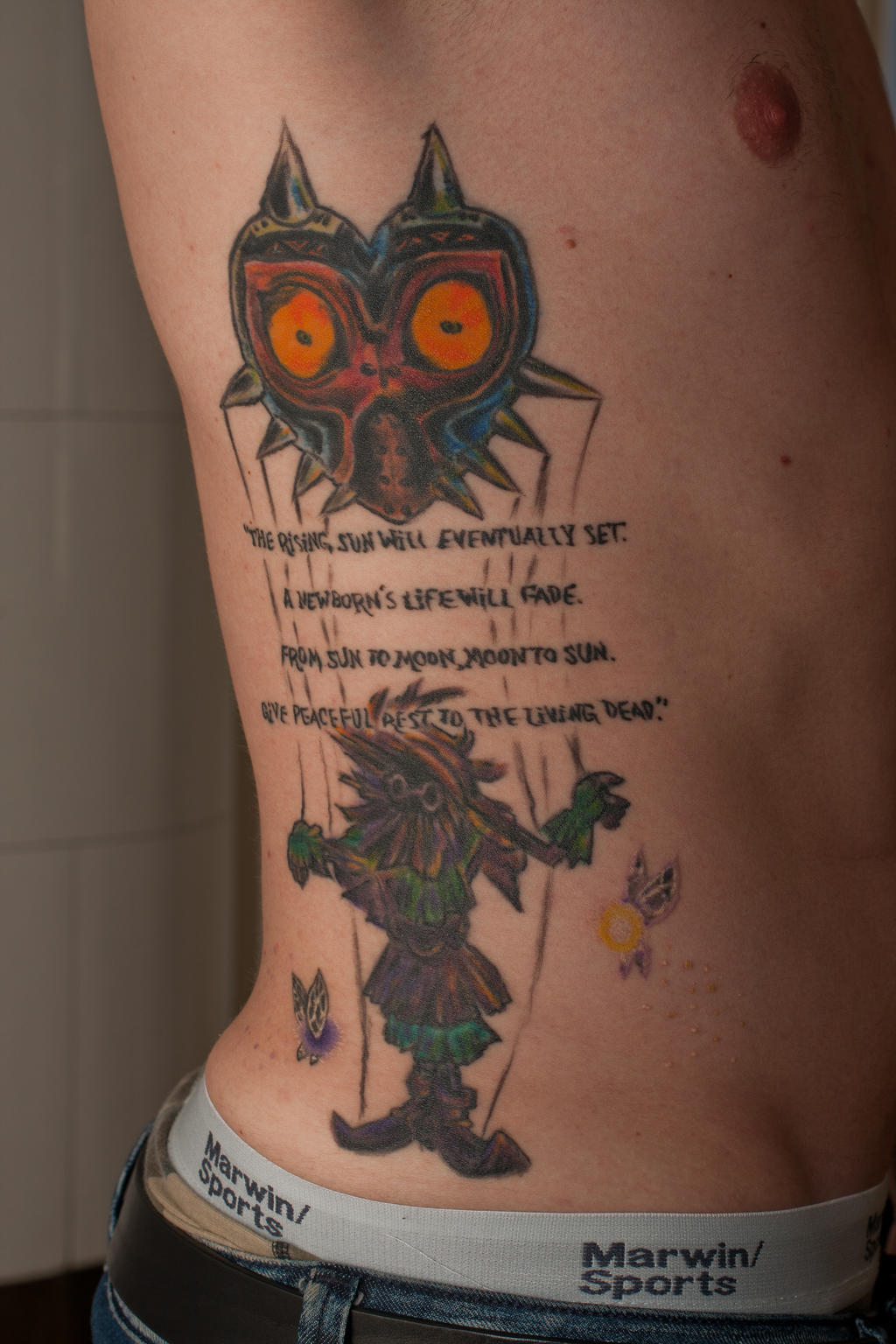 Zelda Majora S Mask Tattoo By Ncfk On Deviantart Last week, i was finally tricked into going (the tattoo parlor's sign was replaced by one proclaiming free hamburgers!) and just seven hours later it was finished. zelda majora s mask tattoo by ncfk on