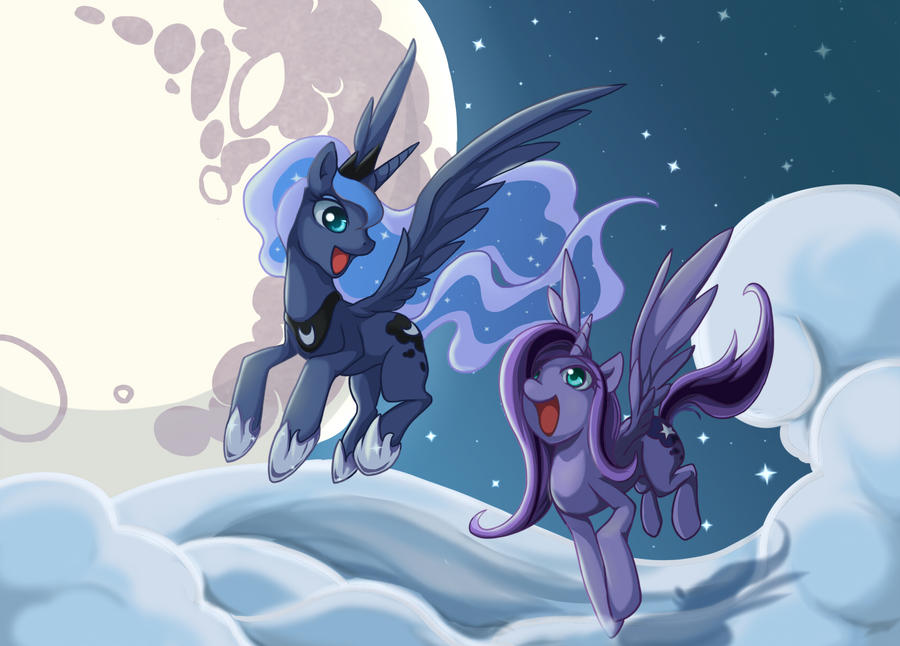 Valkyrie and Luna, Flying under the moonlight by grasspainter