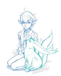 Alphy and Carbuncle sketch FF14 by Lindsay-N-Poulos