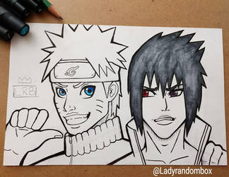 Naruto and Sasuke - commission by Lindsay-N-Poulos
