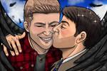 Destiel kiss by Lindsay-N-Poulos