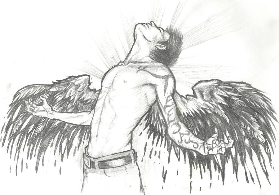 fallen angel coloring pages - easy pencil drawings of fallen angels sketch coloring page