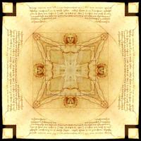 Vitruvian Man - Quadgram Kaleidoscope Mandala