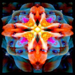 Orange Blues Mandala 1 (3D Version)