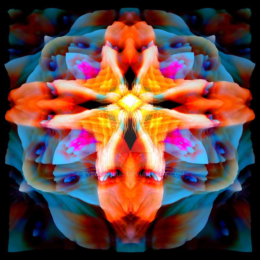 Orange Blues Mandala 1 (3D Version) by EyeOfHobus