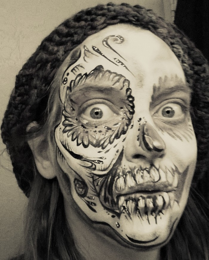 Sugar Skull Black and White Crazy face by ciphersilva Sugar Skulls Face Paint Black And White