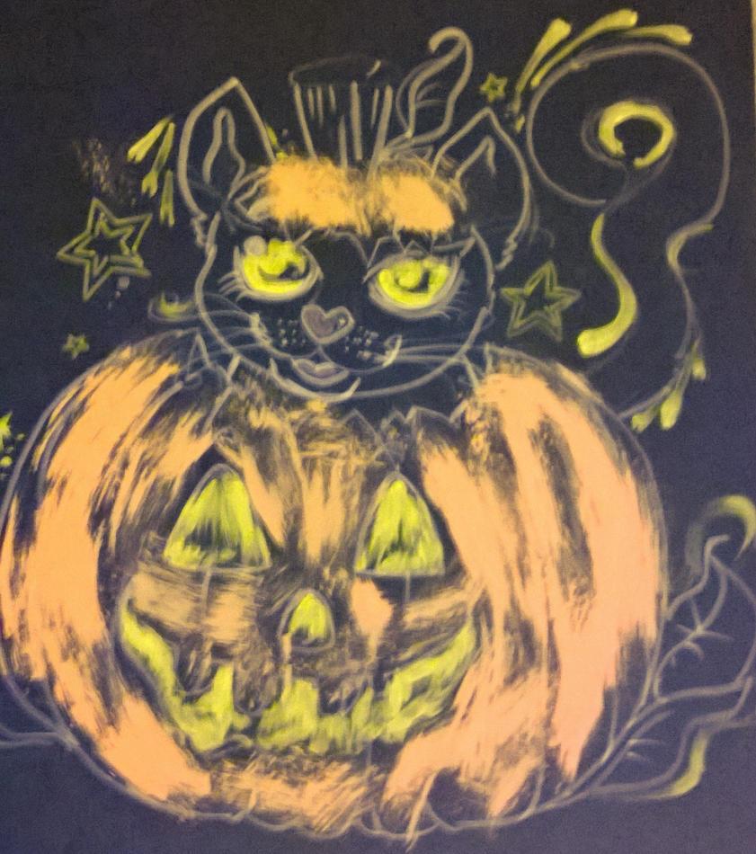 Evil Pumpkin happy kitty Halloween by ciphersilva