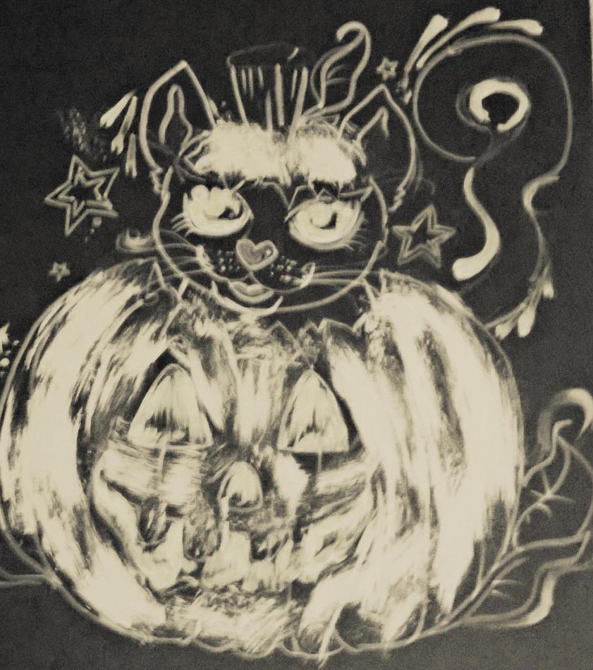 Terror filled pumpkin and cute black kitty by ciphersilva