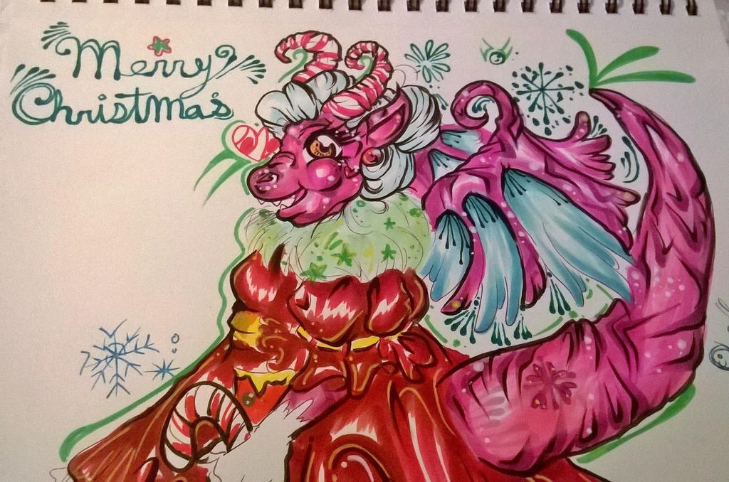 Merry Christmas Candy cane dragon by ciphersilva