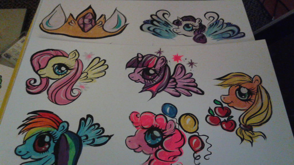 Face paint on paper My Little Pony practice by ciphersilva