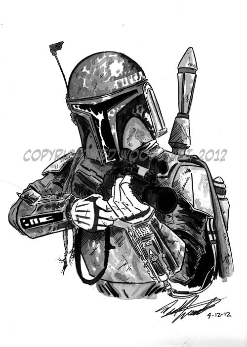 Boba Fett sketch by tedwoodsart