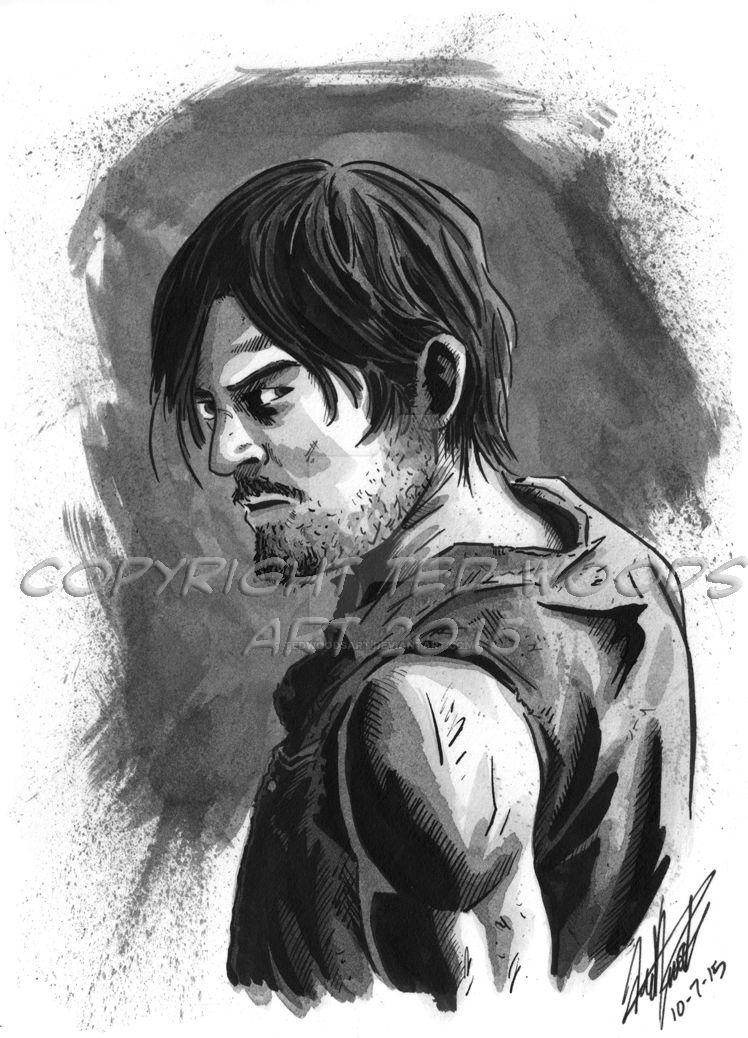 INKtober 2015 Day 8: Daryl Dixon by tedwoodsart