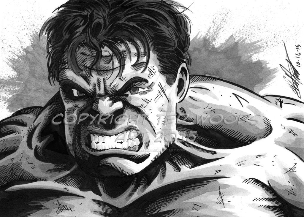 INKtober 2015 Day 17: Hulk (Ruffalo) by tedwoodsart