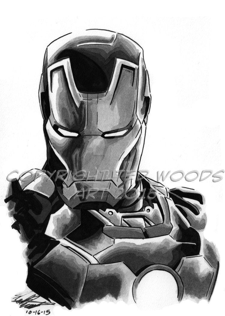 INKtober 2015 Day 18: Iron Man (Mark 43) by tedwoodsart