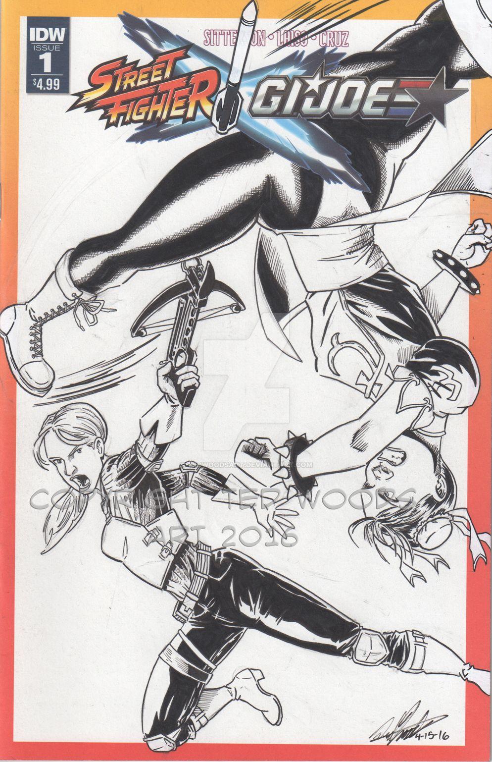 Street Fighter GI Joe Sketch Cover by tedwoodsart