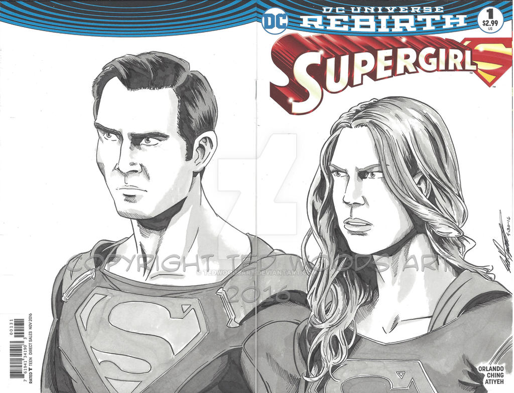 INKtober Day 1: Supergirl Sketch Cover by tedwoodsart