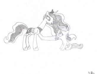 Luna and Scootaloo sketch by NightspherethGnostic