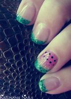 Watermelon Gel Nails by KizunaniiNails