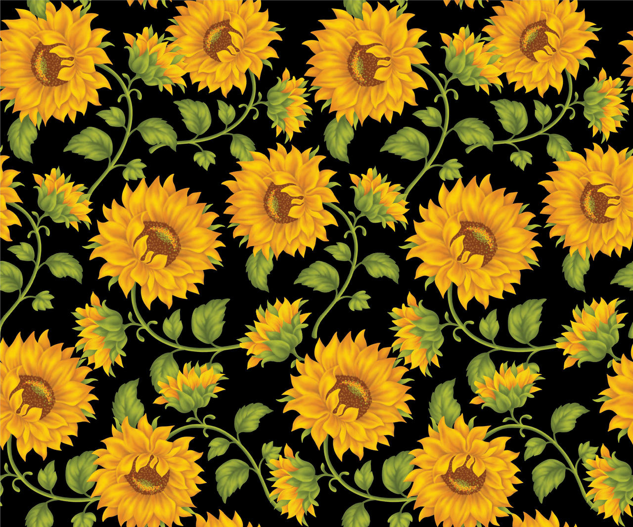 Sunflower Print In Black Background by DonCabanza on ...