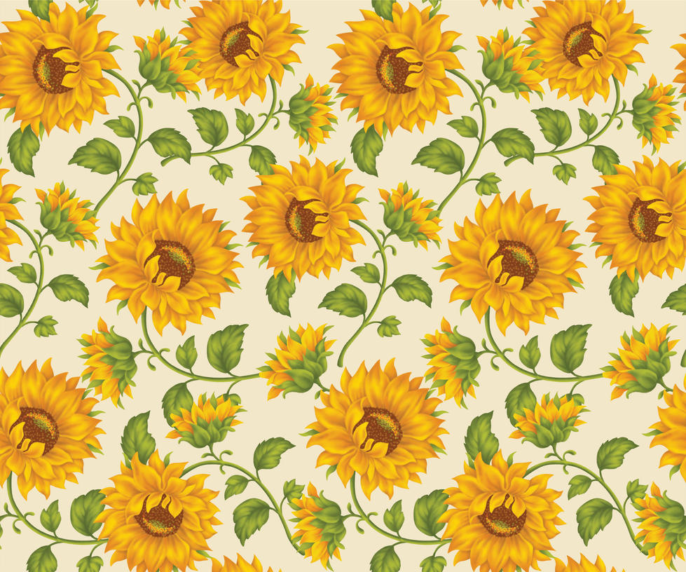 Sunflower Print In Ivory Background By DonCabanza
