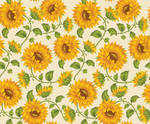 Sunflower Print In Ivory Background