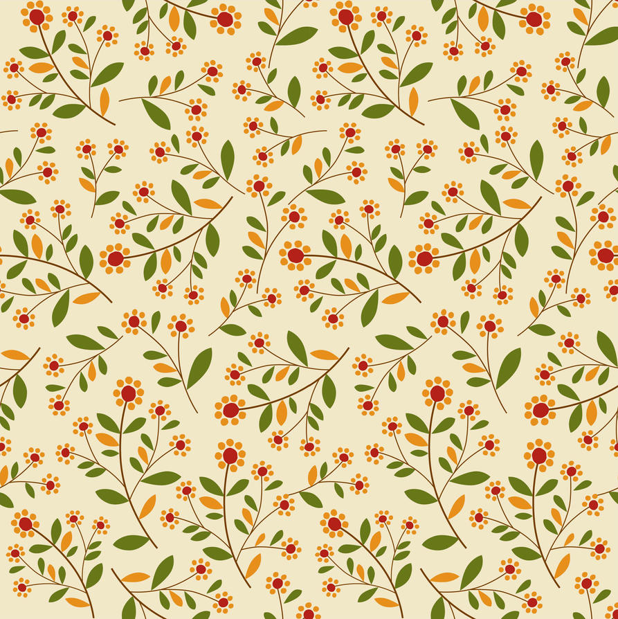 Seamless Fall Leaves And Flower Print by DonCabanza on
