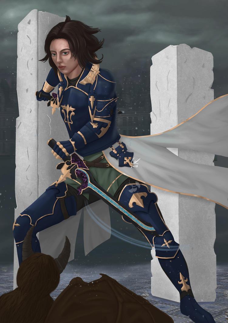 Granblue fantasy Lancelot fanart. by artofgx