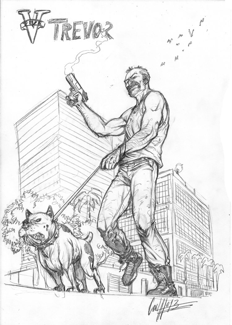 Gta  Franklin And Chop Coloring Pages