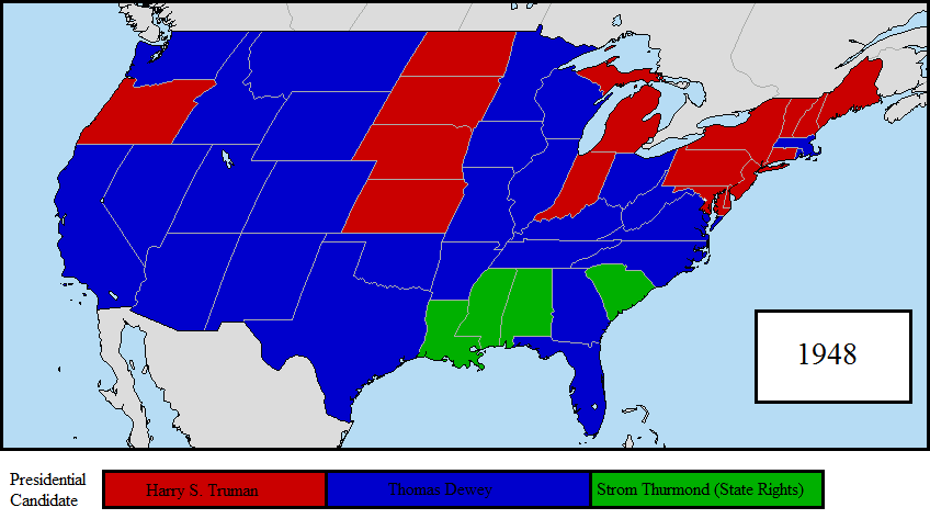 1948 US Presidential Election Map by LouisTheFox on DeviantArt