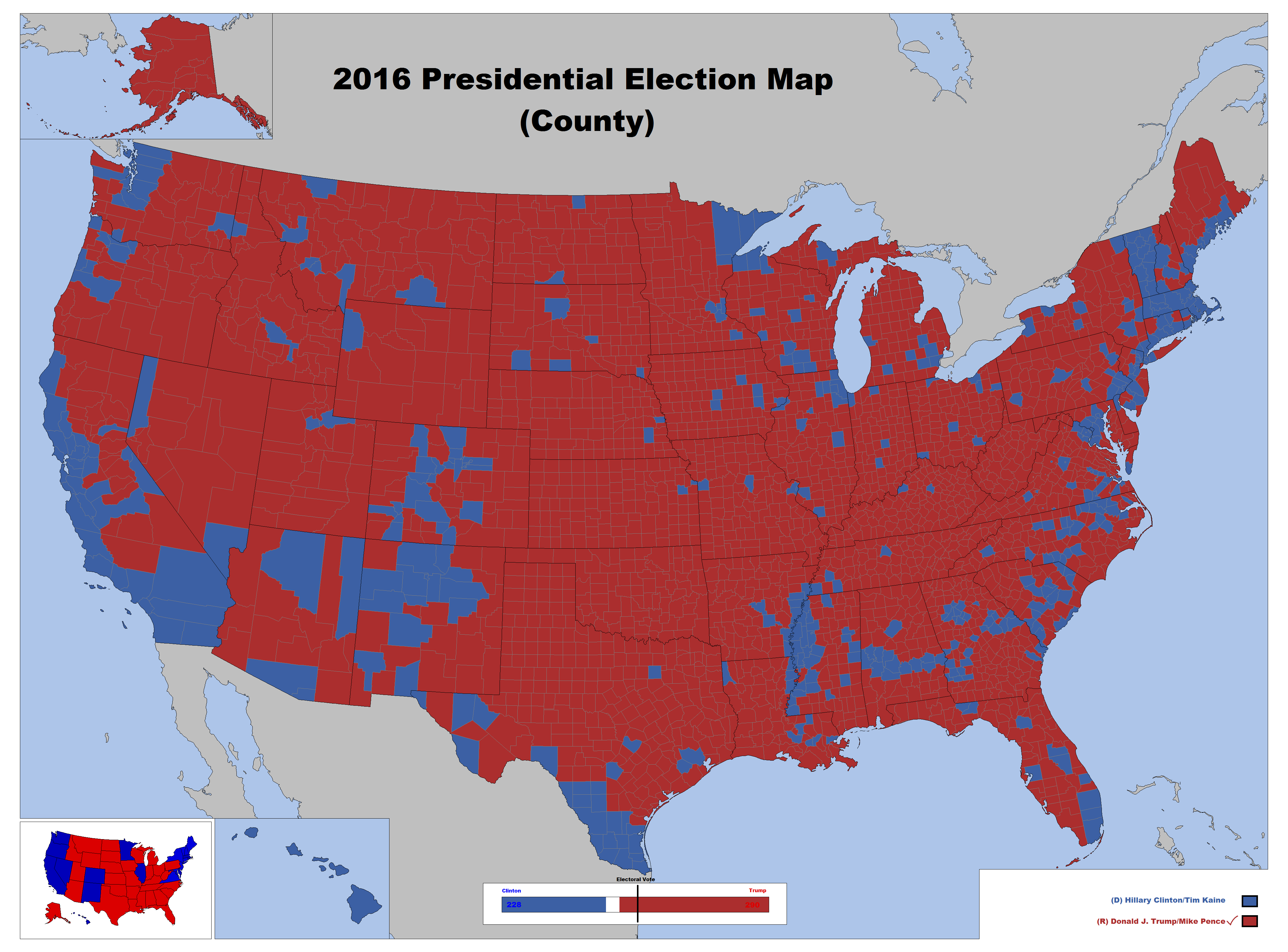 2016 Presidential Election Map County by LouisTheFox on DeviantArt